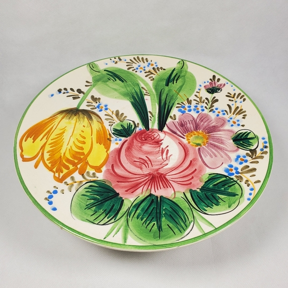 Vintage Italy Hand Painted Ceramic Floral Flower P